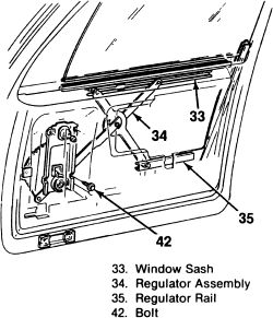 1c7e0 1982 C10 P W P Doors L H Window Regulator Plastic